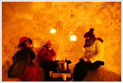 dinner in a igloo