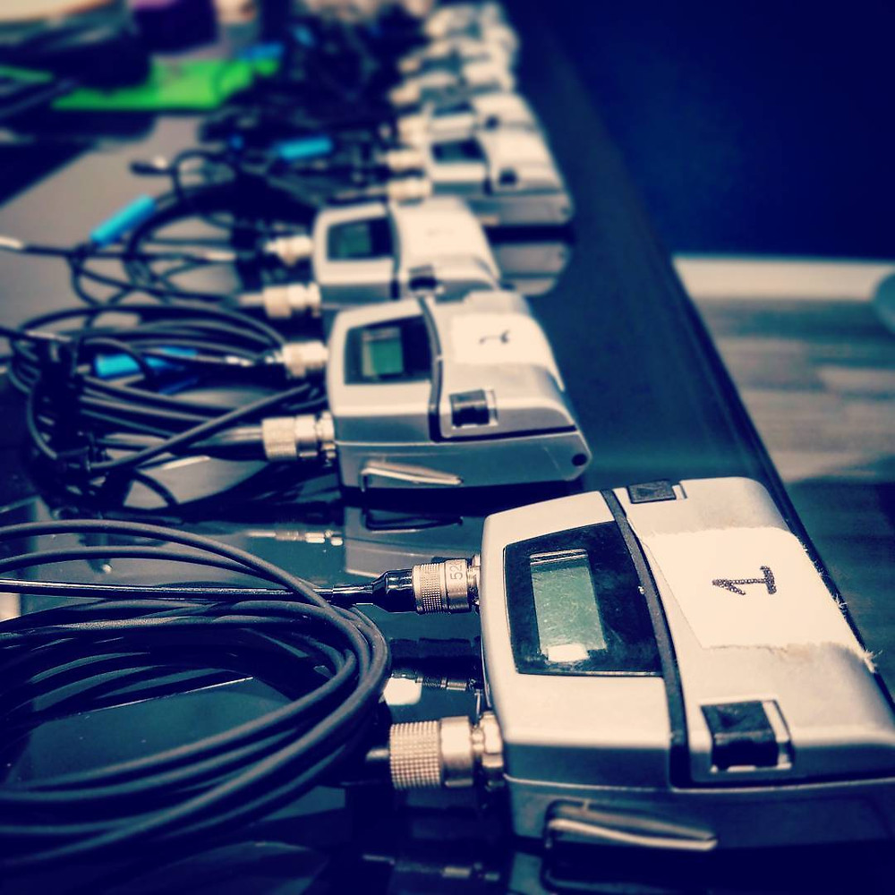 Coordinating 14+ wireless mics is  living on the edge