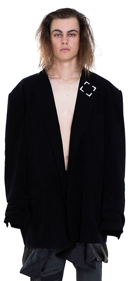 VELVET PATCHED LINING SUIT JACKET BLACK