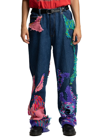 """Multicolour Knit """"Infected"""" Jeans"""