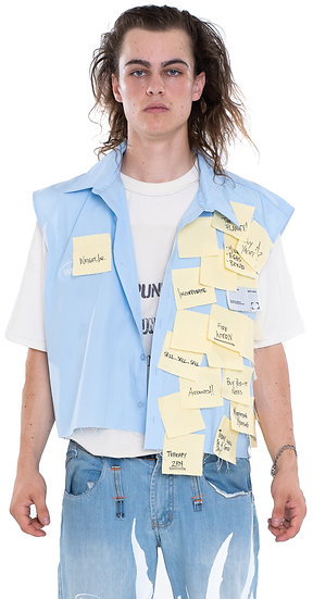'GET THE MEMO?' POST-IT NOTES SLEEVELESS SHIRT BLUE
