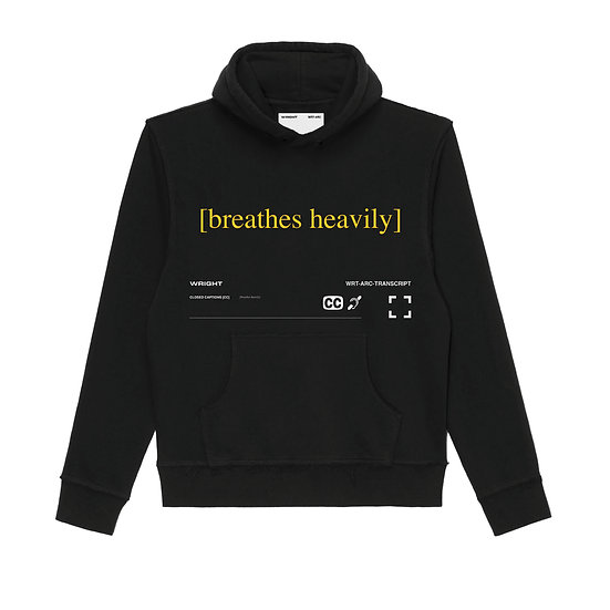 """BREATHES HEAVILY"" HOODED SWEATSHIRT BLACK"