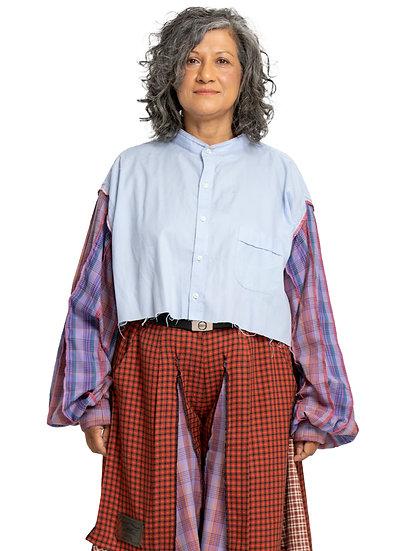 Patchwork Tartan Sleeve Business Shirt