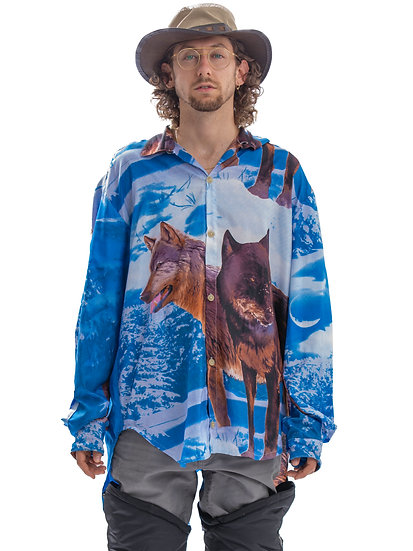 Relaxed Fit Wolf Print Button Up Shirt