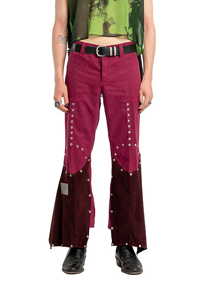 Metallic Studded Flare Pants