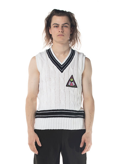 TENNIS ASSOCIATION KNIT VEST WHITE
