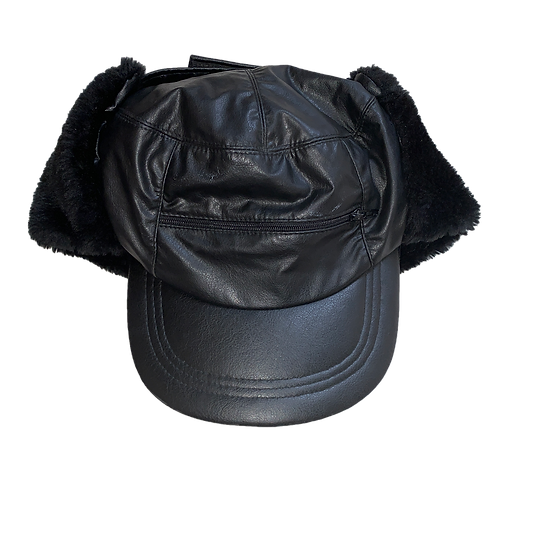 FAUX LEATHER FLUFFY TRAPPER CAP BLACK