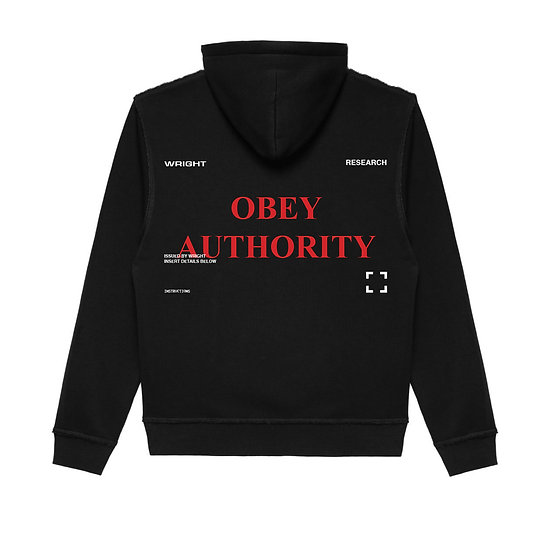 """OBEY AUTHORITY"" HOODED SWEATSHIRT BLACK"