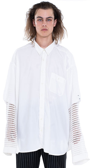 'CAPTIVE CHAINS' KNITTED SLEEVE WORKSHIRT WHITE
