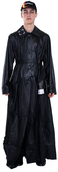 FAUX LEATHER PATCHWORK DUSTER BLACK