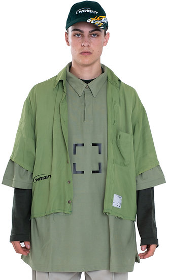 TRIPLE LAYERED MOCKNECK-POLO-BUTTON-DOWN GREEN