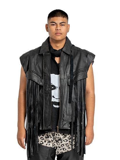 Embellished Leather Tassel Vest