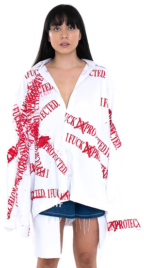 'I FUCK PROTECTED' 3 BUTTON SHIRT WHITE