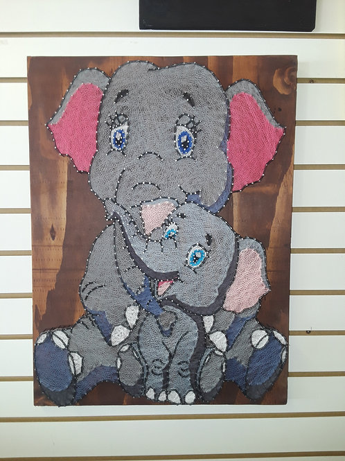 Cartoon mama and baby elephant