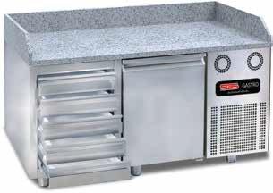 Pizzakühltische 1 Türen 5 Schubladen mit Granit / 155 cm / SGS-BZT155-D