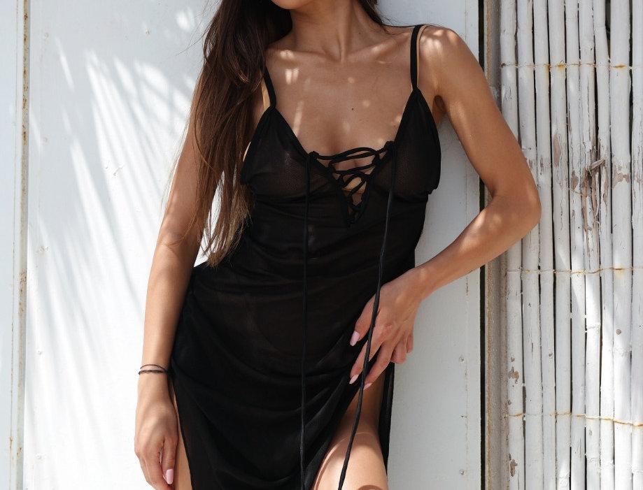 Riviera sheer dress - black