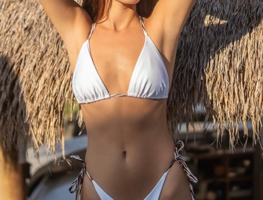 Bianca | triangle bikini set in white with tiger straps