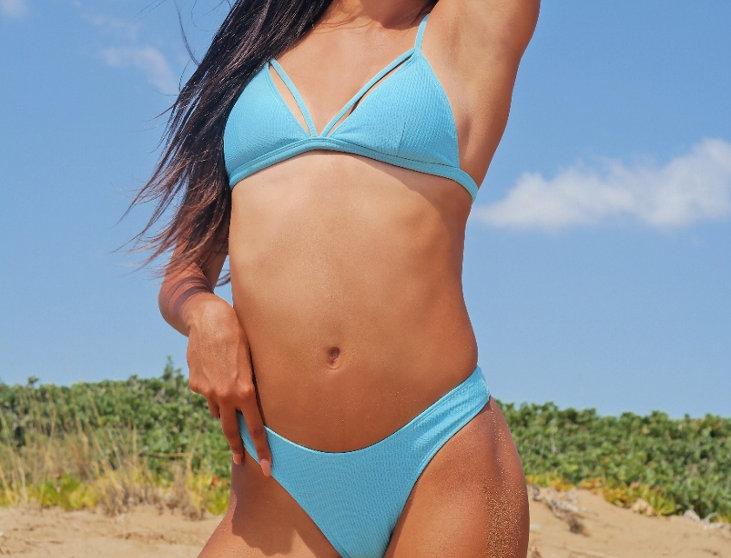 Caviar rib bikini - blue sky