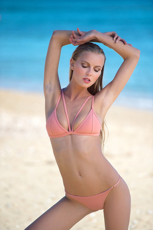 The Vertigo rib bikini - salmon pink