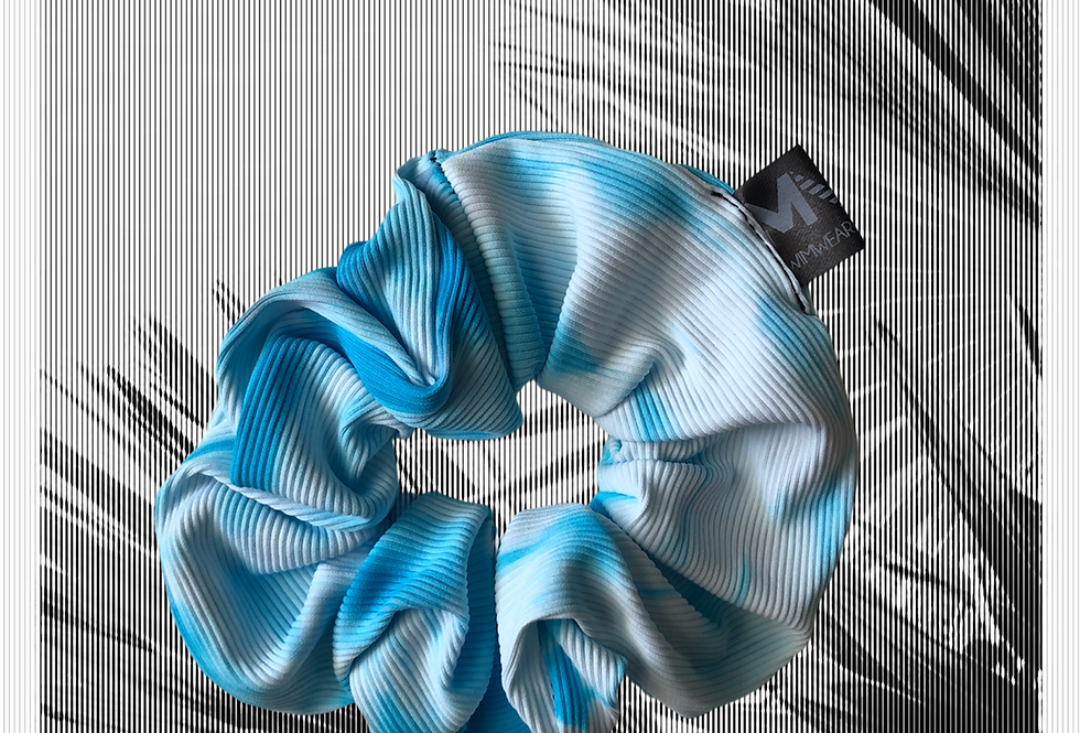 Hair Scrunchie   Rib Tie dye   Light blue