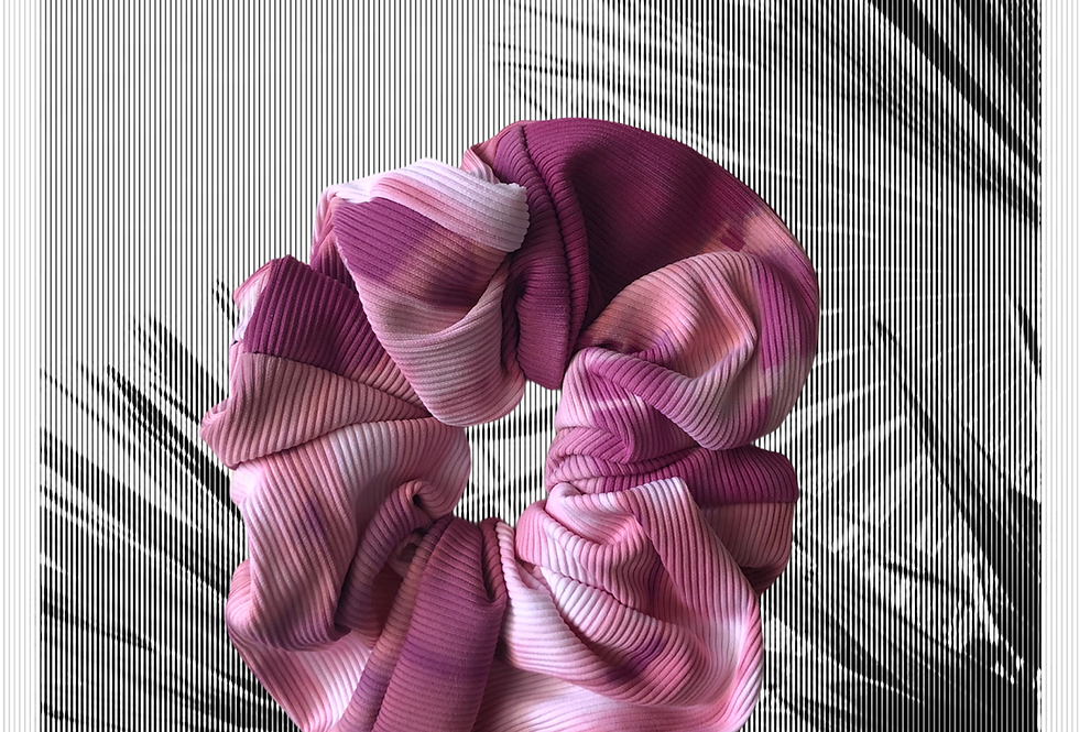Hair Scrunchie | Rib Tie dye | Dark red