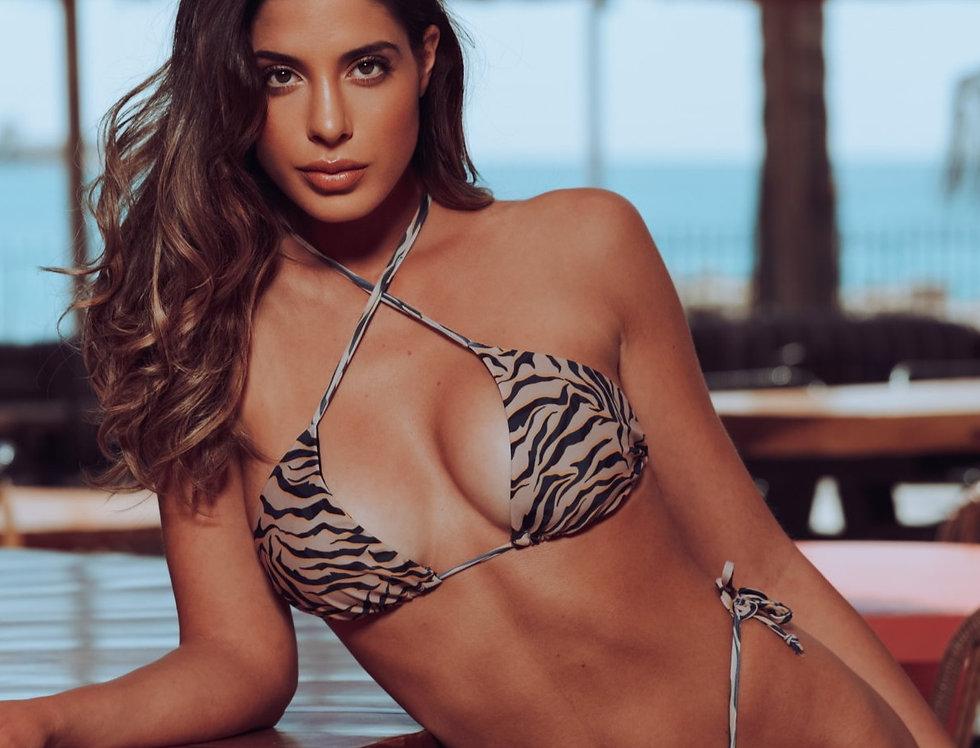 Bonnie   sliding string bikini set in zebra print