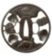 百貝透図鐔 銘 越前住記内作