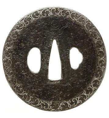 珠追龍図鐔 銘 法安兼信