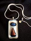 fused glass pendant, carolyn sims, dicroic glass