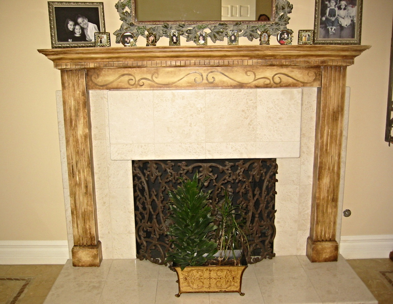 Heavily antiqued fireplace