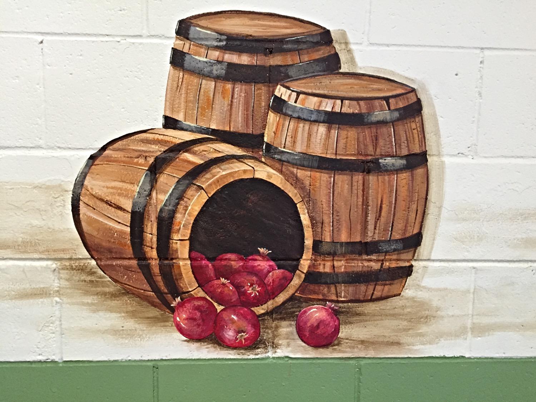 Closeup of barrel and pomegranates