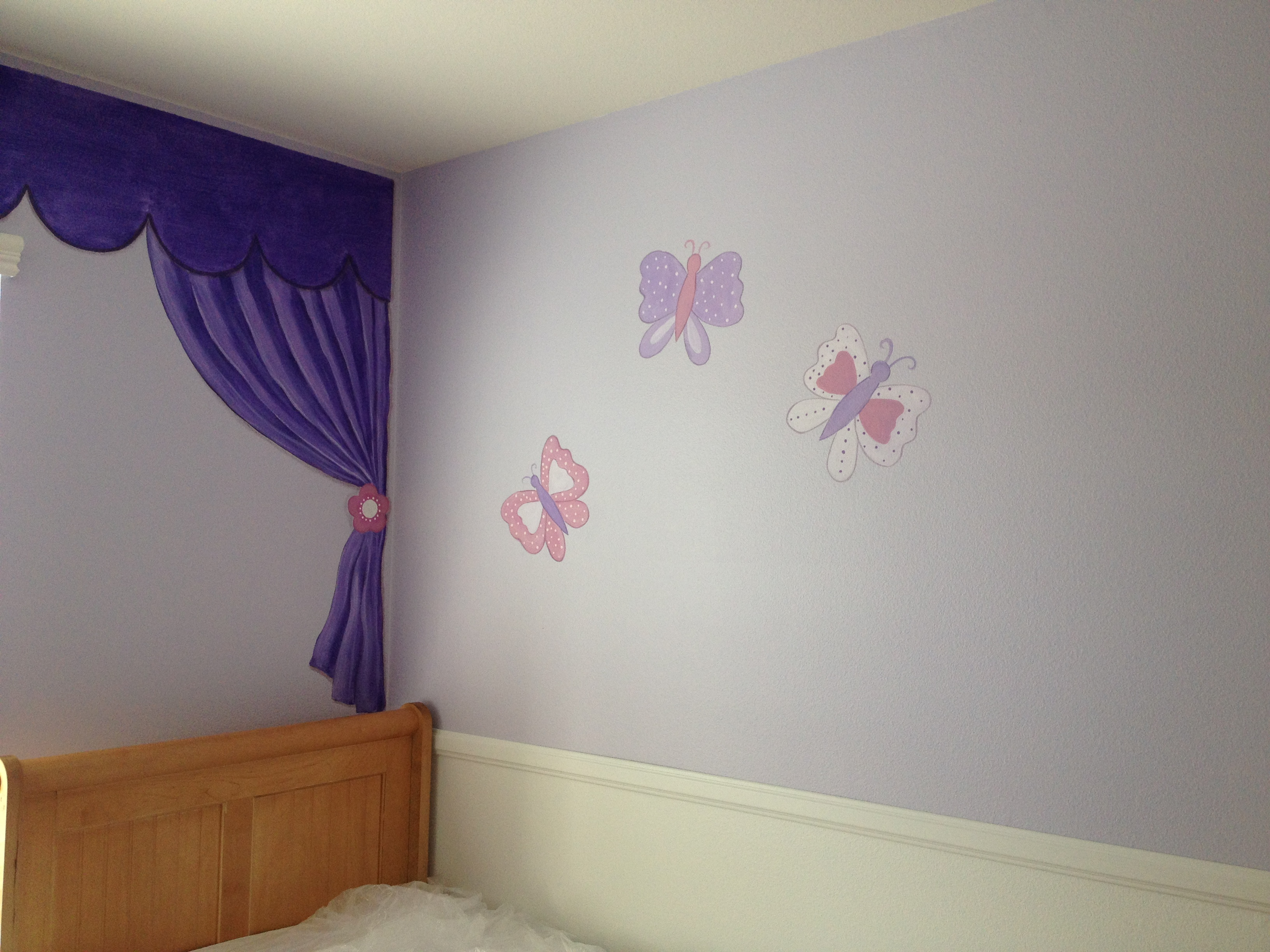 Faux curtains & butterflies