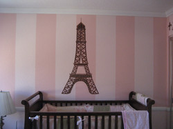 Eiffel tower and striped walls