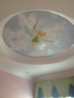 Tinkerbell on ceiling with clouds