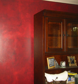 """Red """"leather"""" faux finish"""