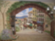 Custom painted wall murals - European street scence, Trompe l'oeil