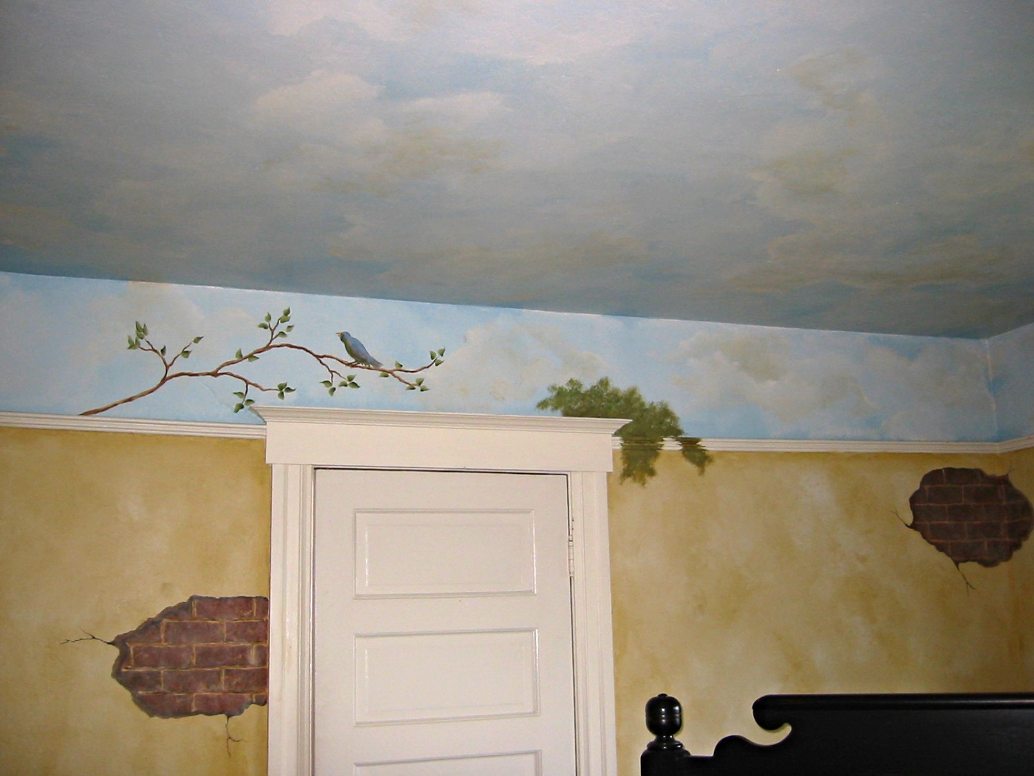 Clouds, faux finish, brick, & twigs