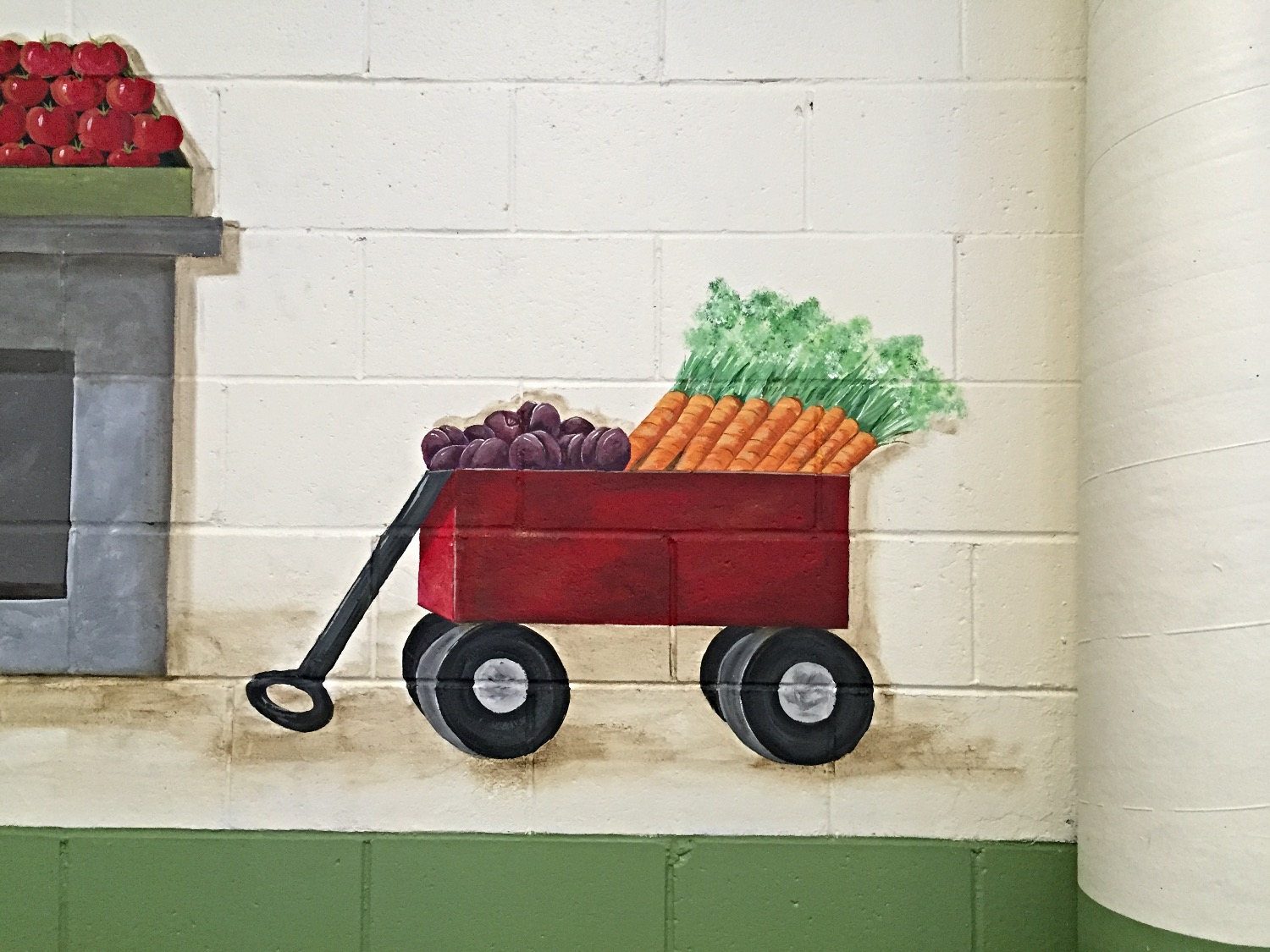 Closeup of wagon with produce