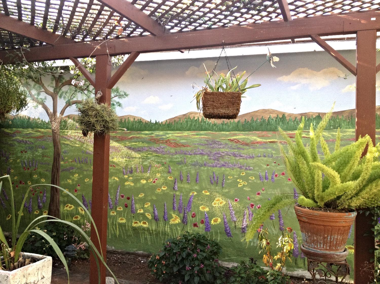 Outdoor field of flowers mural