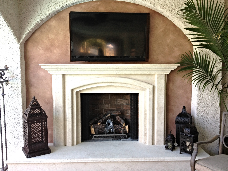 Faux around fireplace
