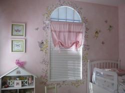 Floral vine around window & fairies