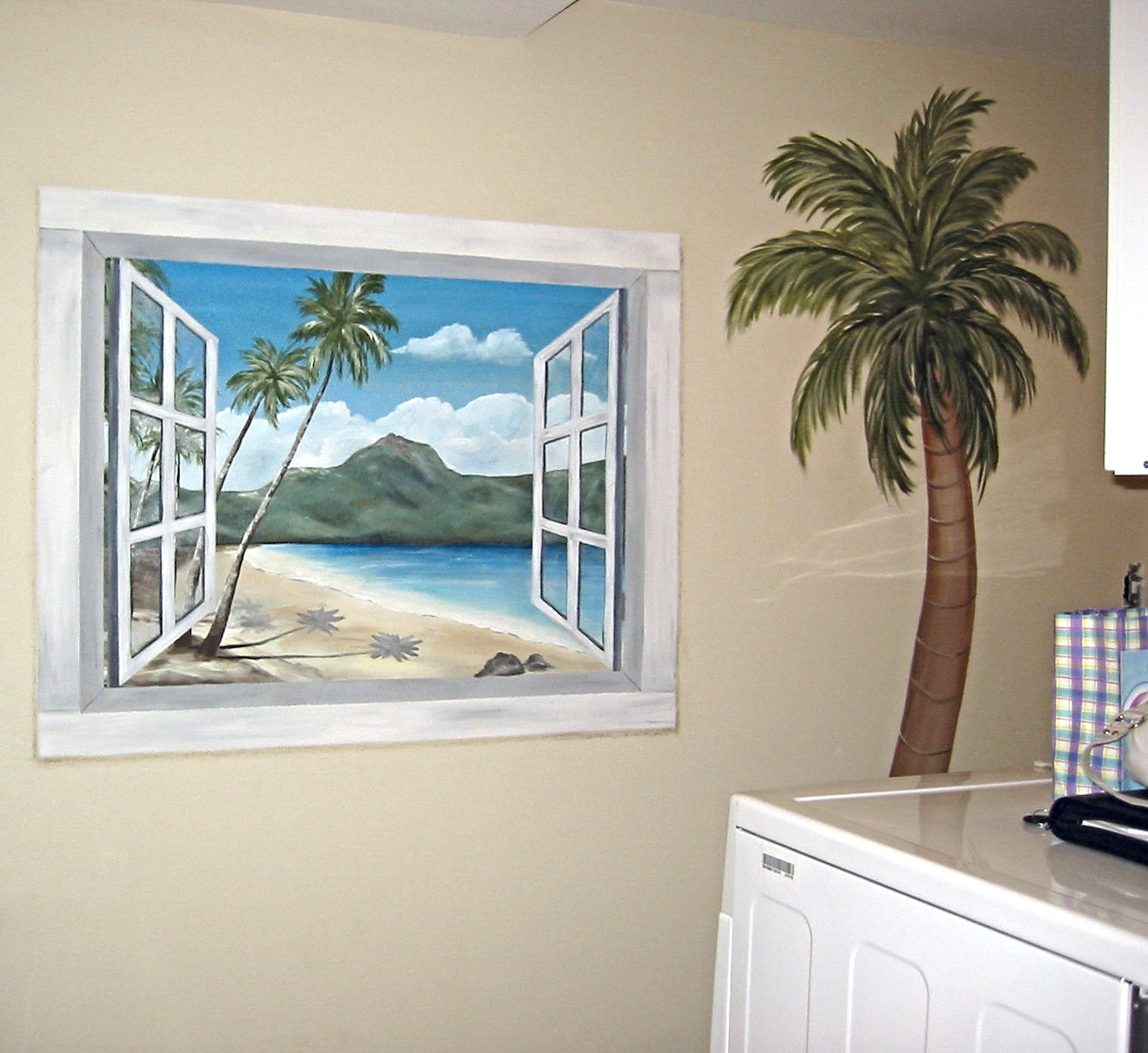 Faux window with ocean scene