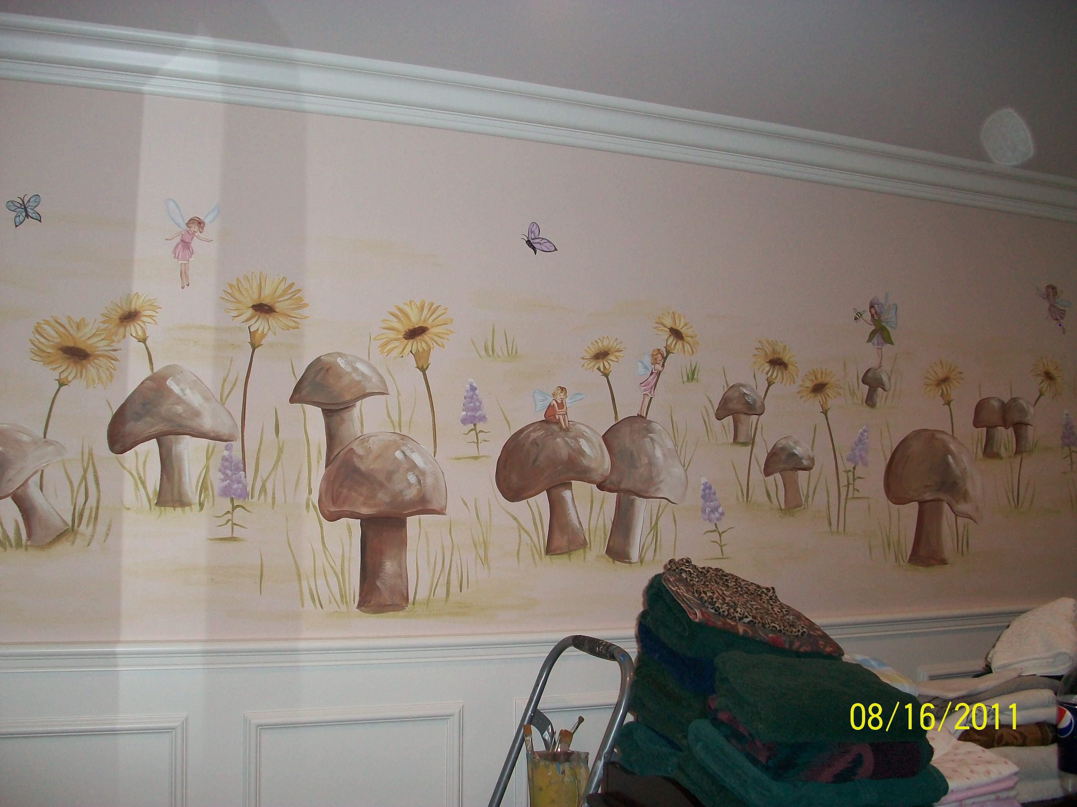 Mushroom field with fairies