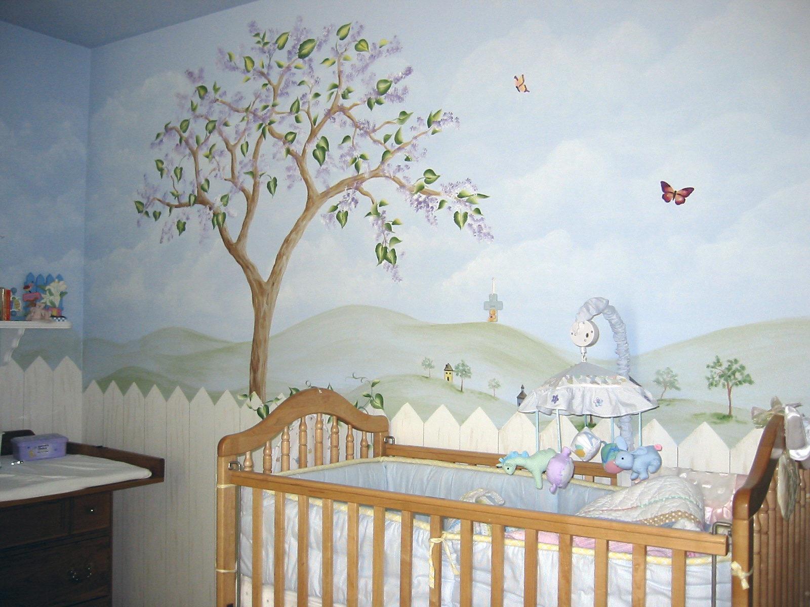 Gate, tree mural
