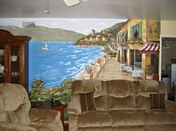European street ocean scene