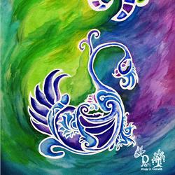 Bird of Dream inGreen &Purple