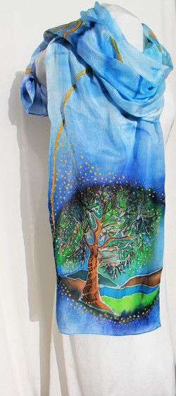 Free hand Trees and Cabin in Batik