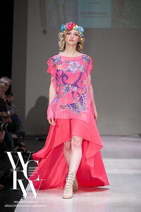 Pink & Orange Butterfly Garden Elegant Vest Scarf