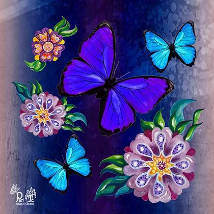Blue & Purple Butterflies Silk Scarf