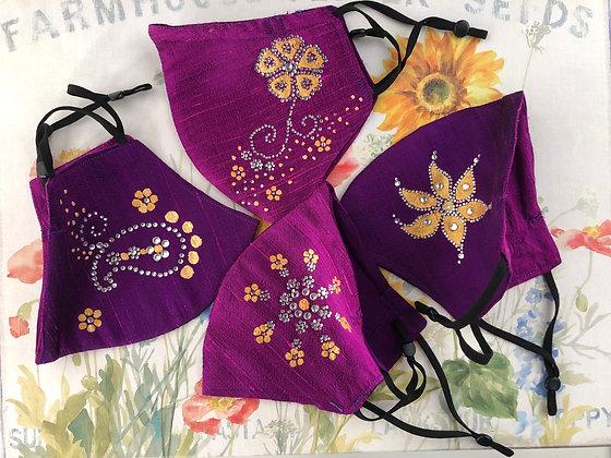 Pink & Purple Silk Masks
